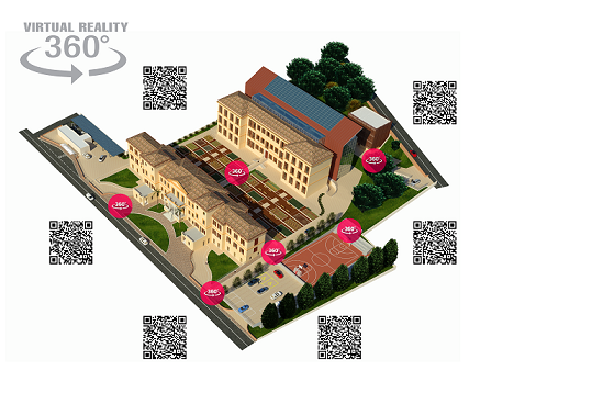 Residenza Universitaria con Qr-Code delle varie location