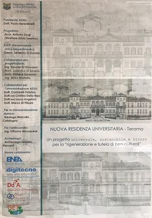 Frontespizio progetto nuova residenza universitaria
